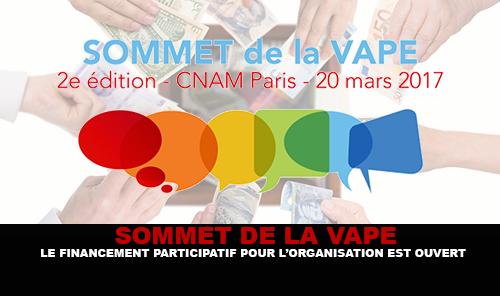 SOMMET DE LA VAPE : Le financement participatif pour l'organisation est ouvert.